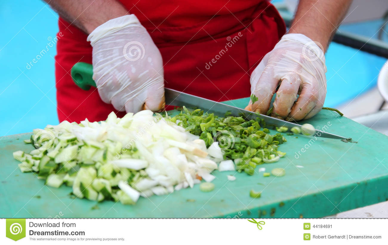 Chef Chopping Vegetables Stock Photo - Image: 44184691