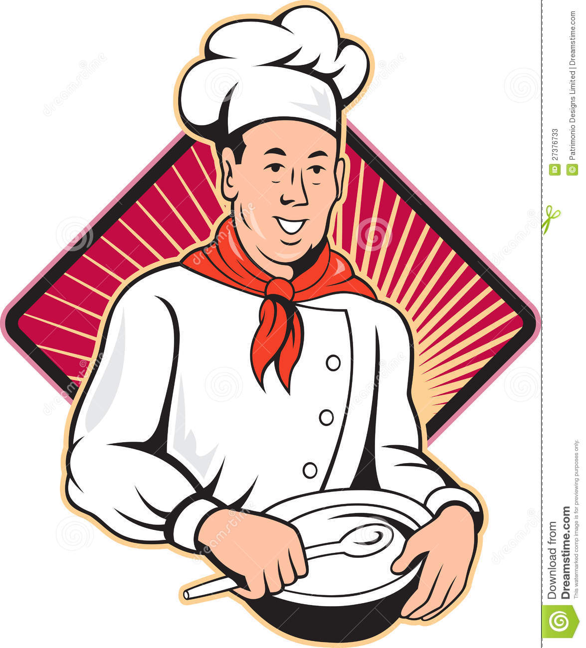 Illustration of a chef, cook or baker done in retro style on isolated ...