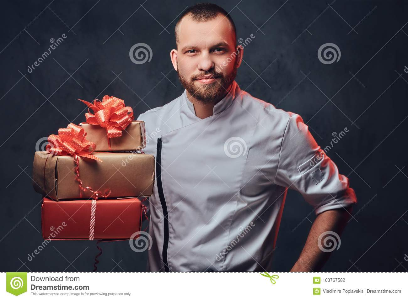 Chef Cook Holds Colorful Paper Christmas Gifts. Stock Photo - Image ...
