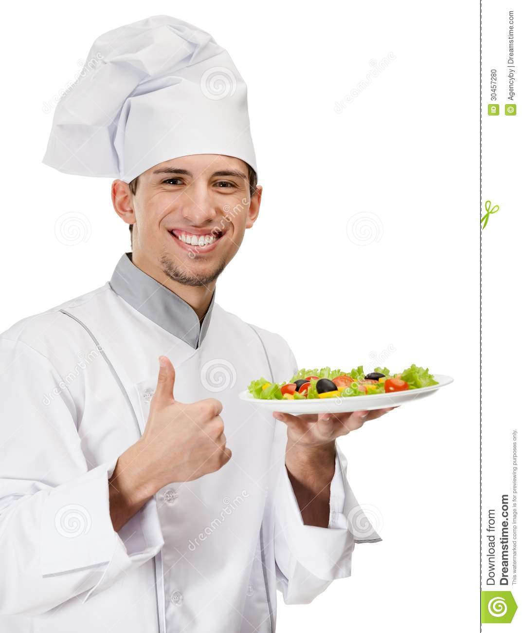 chef cook with salad dish thumbs up stock photo image of cater achievement 30457280. Black Bedroom Furniture Sets. Home Design Ideas