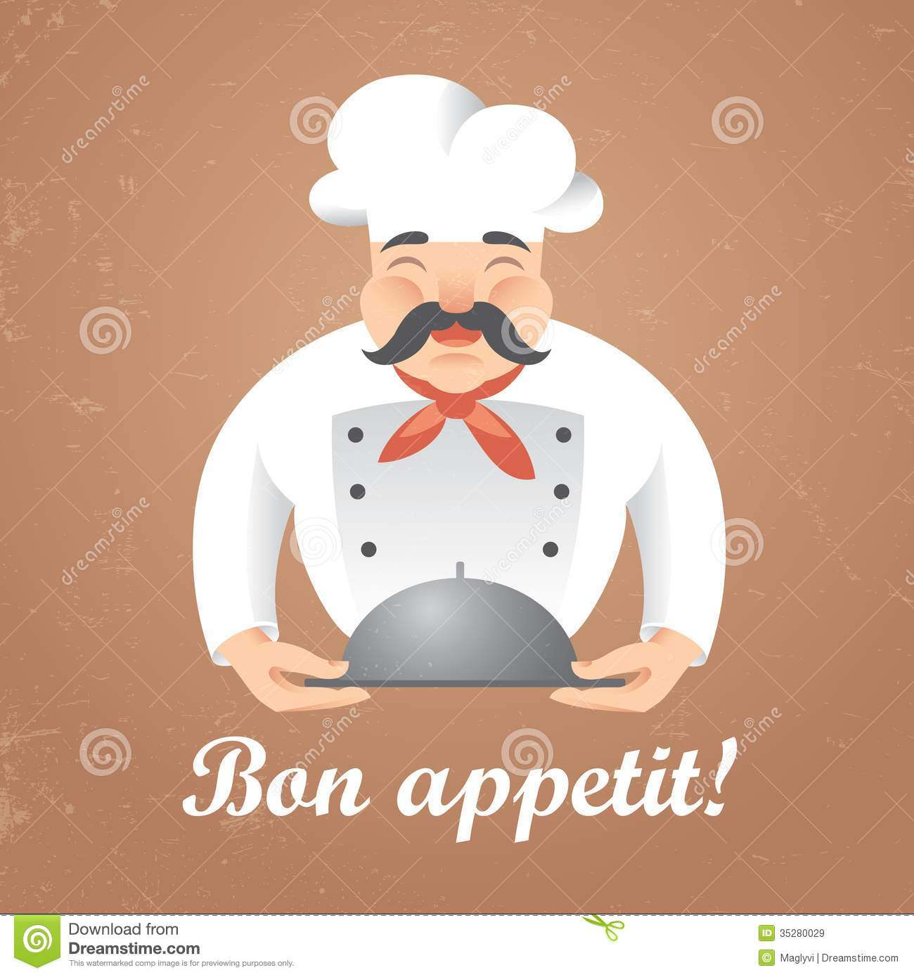Stylized illustration of funny chef cook holding a tray. Vector.