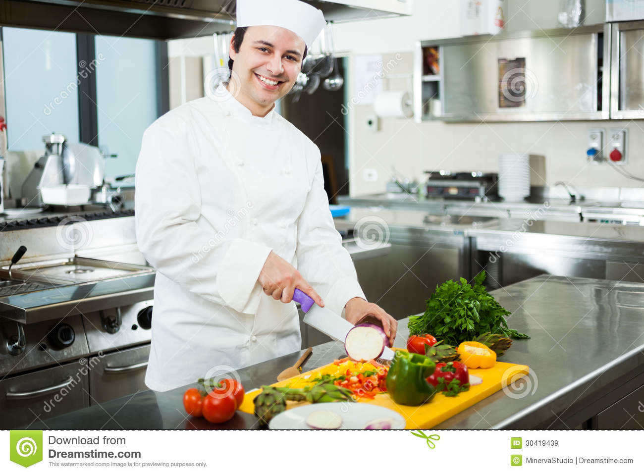 Chef Cooking In His Kitchen Stock Image - Image of profession ...