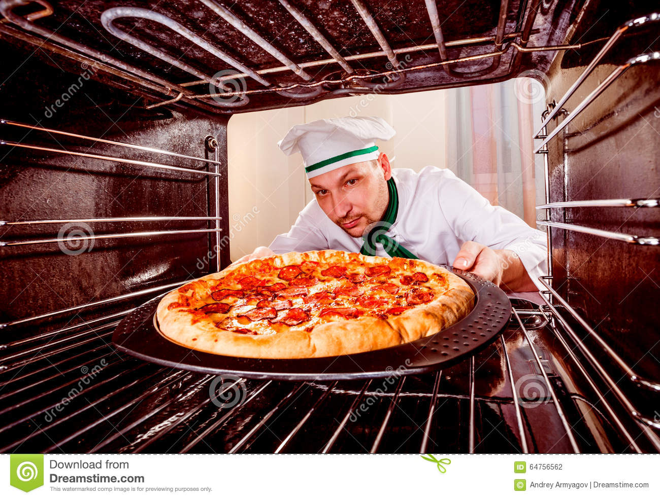Fast Cooking Ovens Chef Cooking Pizza In The Oven Stock Photo Image 64756562