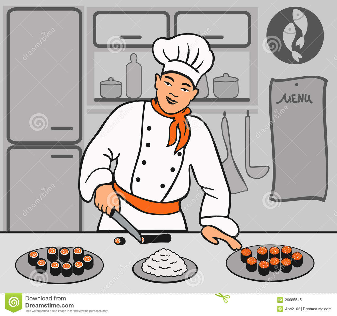 Chef Is Cooking Sushi Royalty Free Stock Photo - Image ...