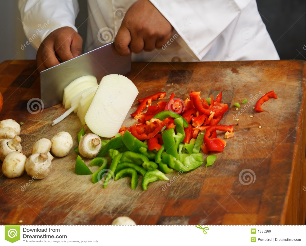 Chef Cutting Vegetables Close Up Stock Photo - Image: 1335280