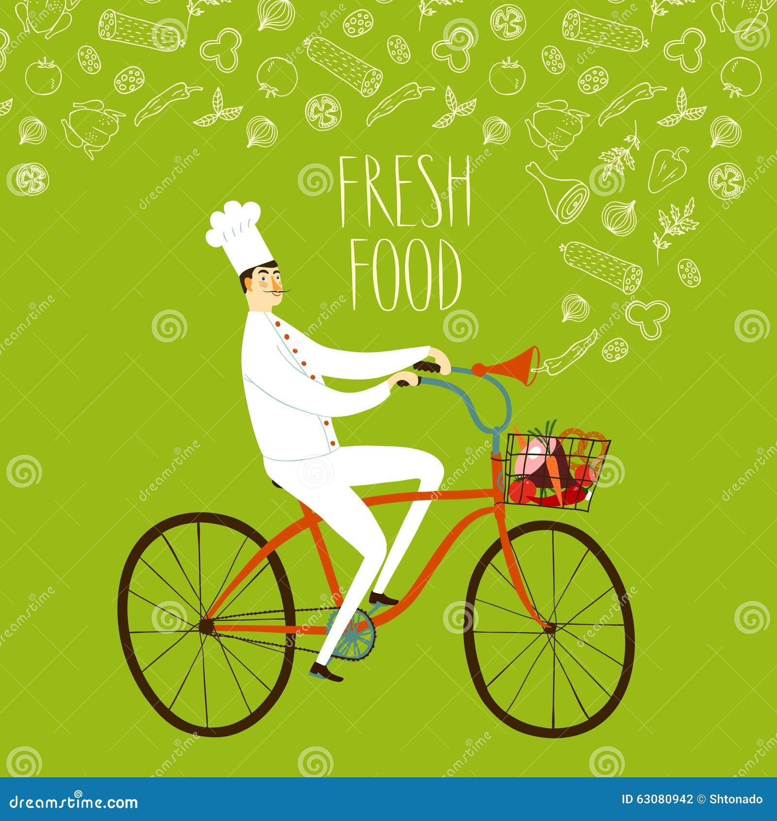 Download Chef De Bande Dessinée Sur La Bicyclette Illustration Stock - Illustration du caractère, griffonnage: 63080942