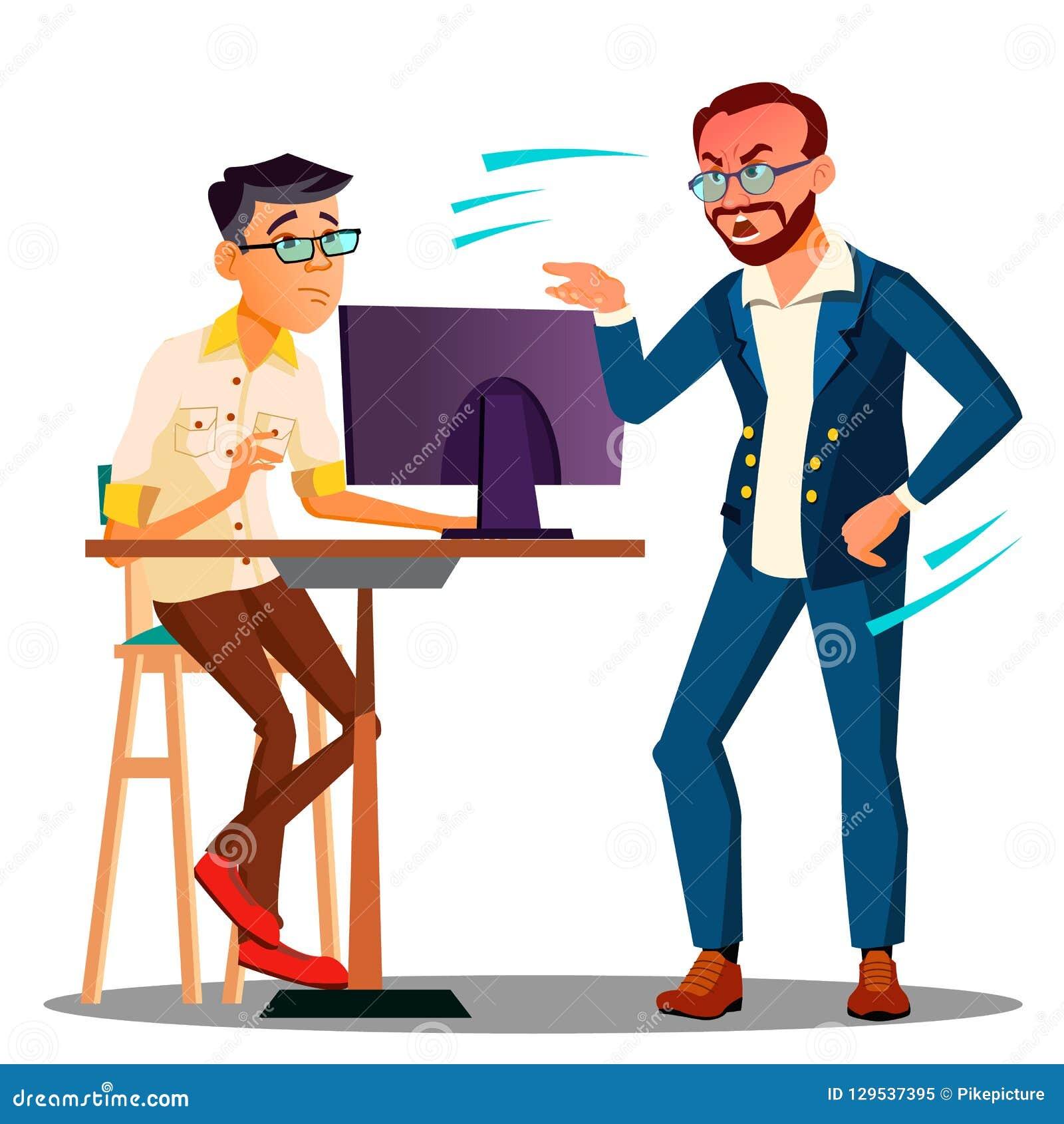 Chef de cri de chef à partir de l ordinateur sur le vecteur effrayé des employés Illustration d isolement