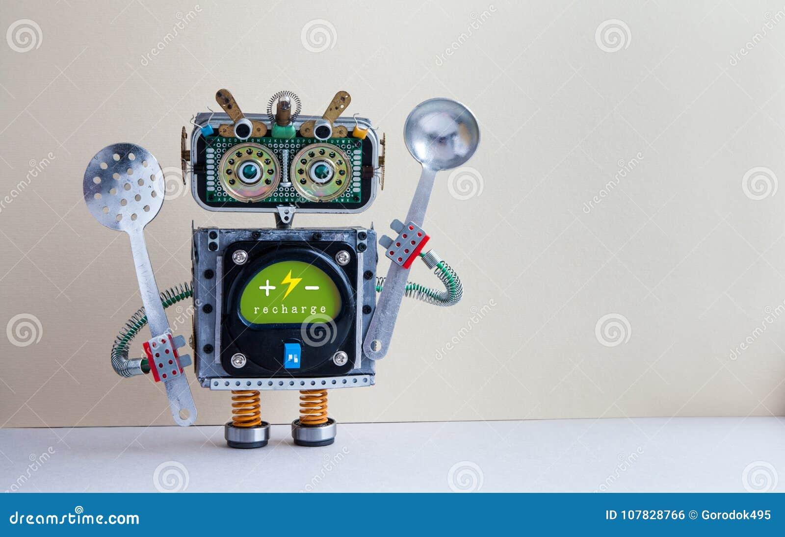 Chef De Robot Avec L Ecumoire De Poche Corps D Interface De Vert