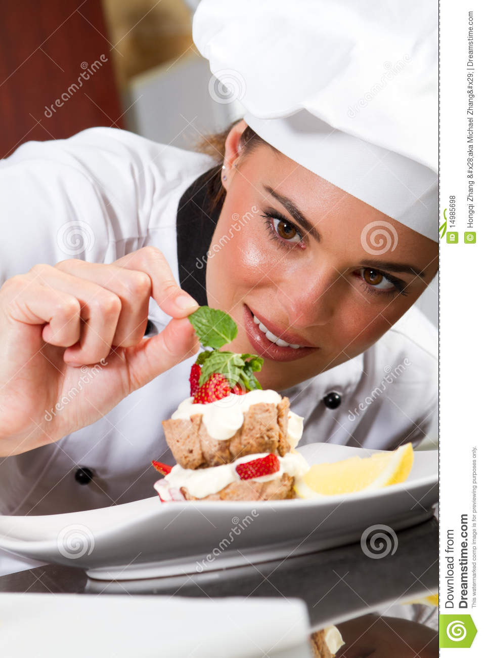 Chef decorating food stock photo. Image of eyes, hand ...