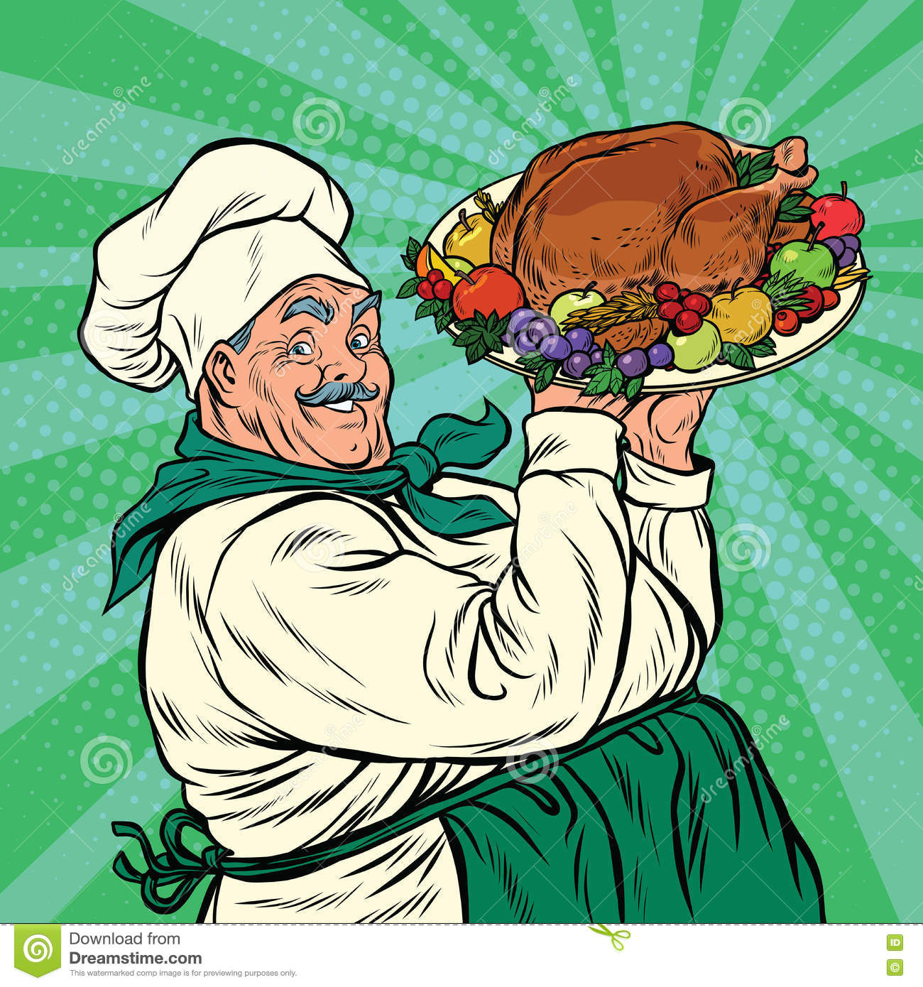 Vector Vintage Pop Art Beach Holiday Illustration Stock: Chef With A Dish Roast Turkey Stock Vector