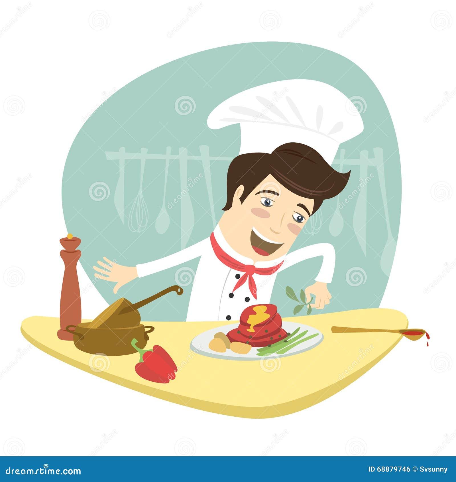 chef dr le faisant cuire le plat de viande dans la cuisine illustration stock image 68879746. Black Bedroom Furniture Sets. Home Design Ideas