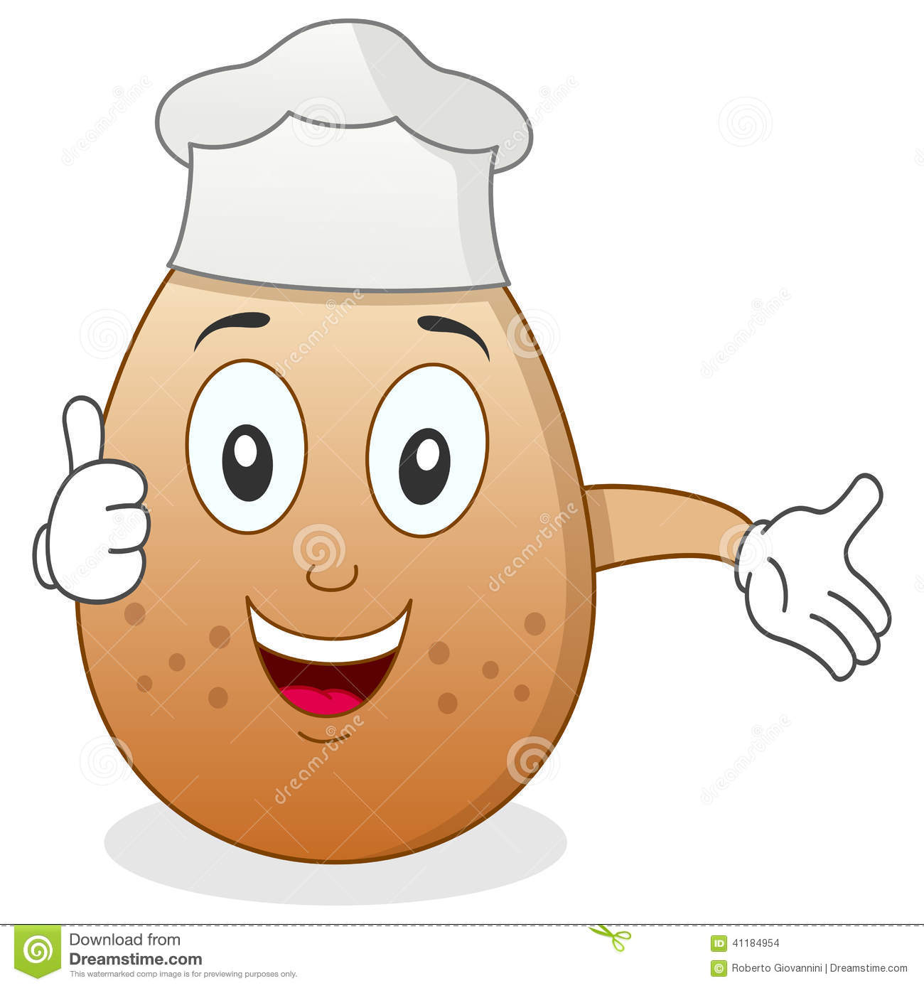 Chef Egg Character with Thumbs Up