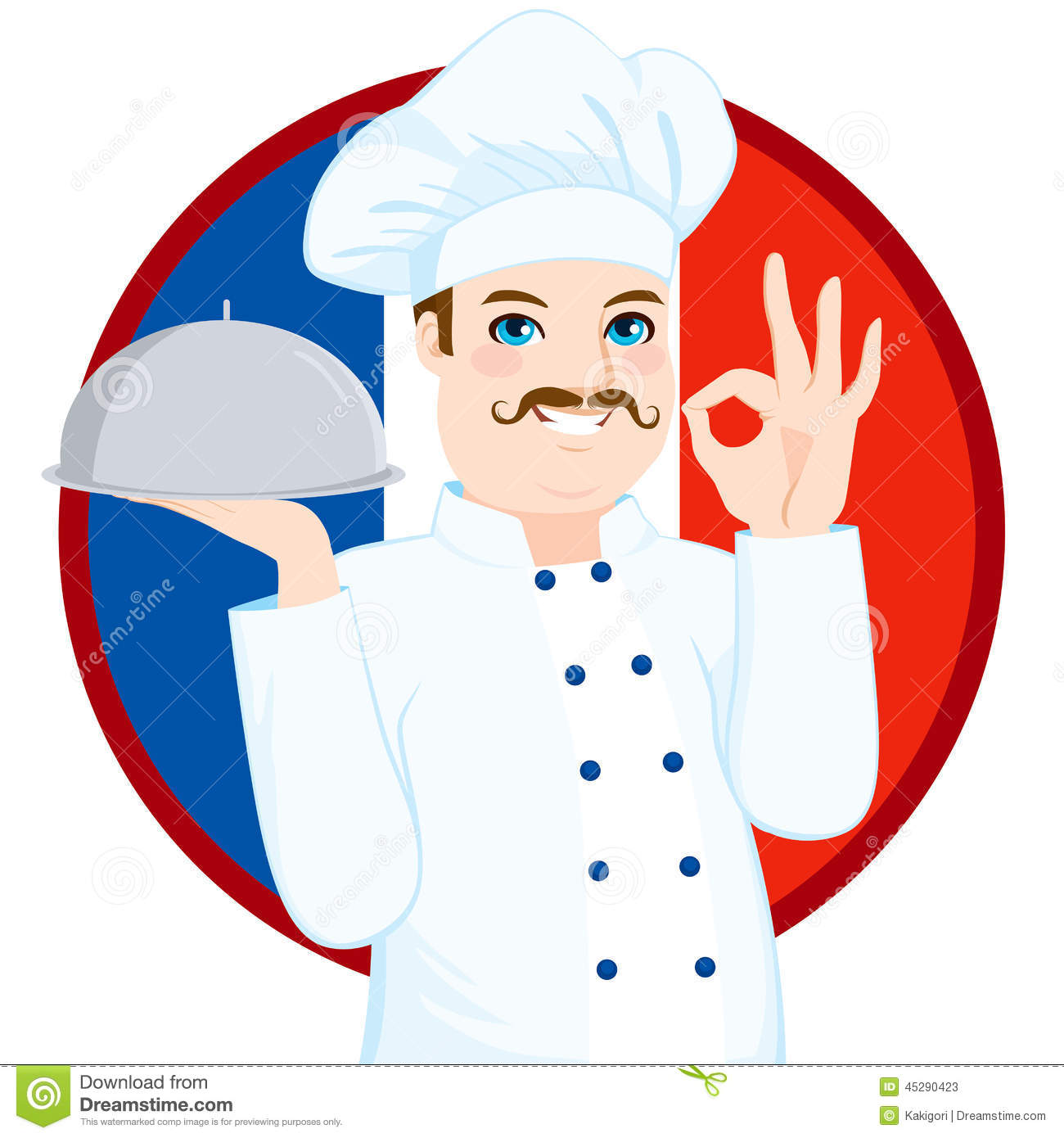 Chef fran ais with mustache de cuisine illustration de for Les francais et la cuisine