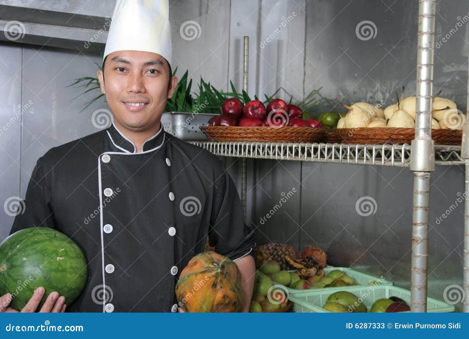 Chef in fruit storage