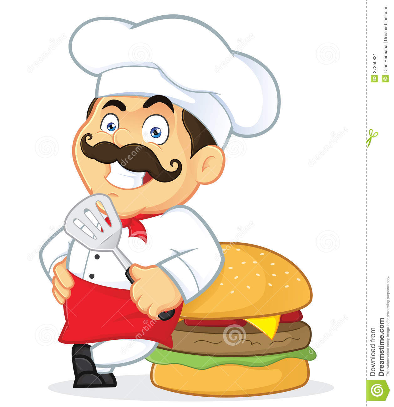 Chef with Giant Burger. Clipart Picture of a Chef Cartoon Character with  Giant Burger royalty 4317b97b5aee
