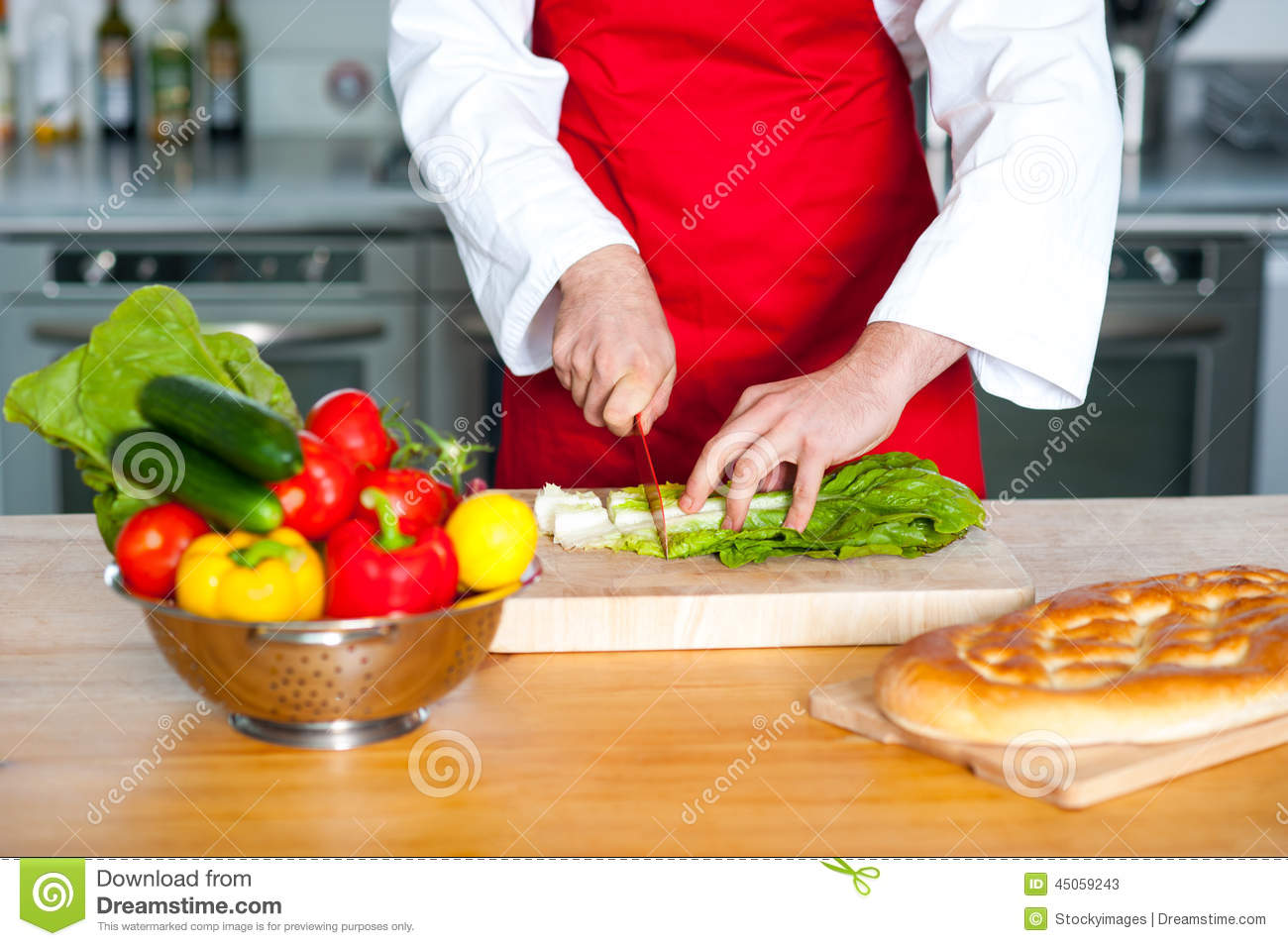 Chef Hand Chopping Vegetables Stock Image - Image: 45059243