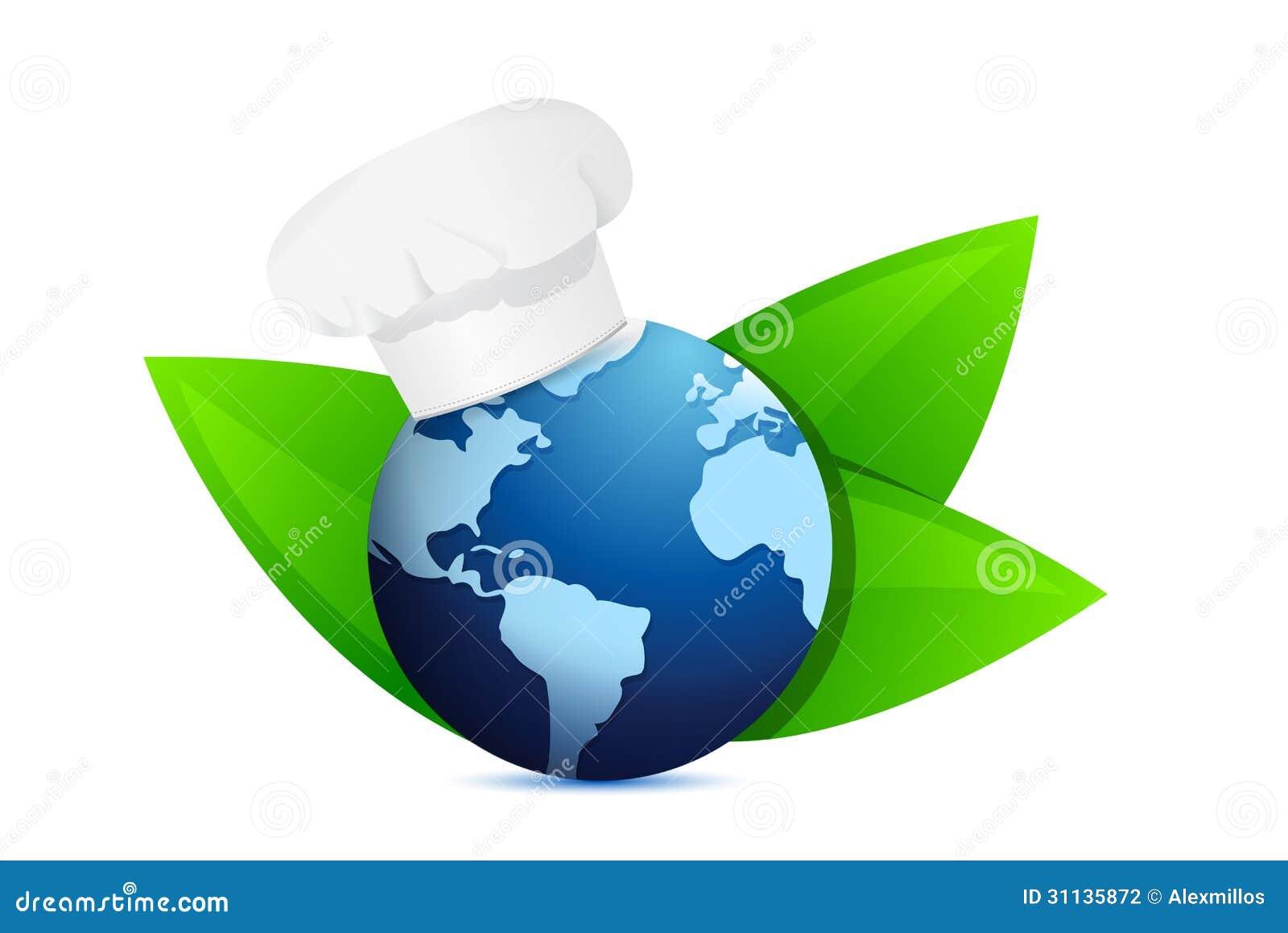 chef hat and eco globe international cuisine stock. Black Bedroom Furniture Sets. Home Design Ideas
