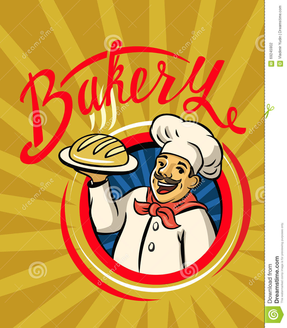 Chef with hat and hot bread