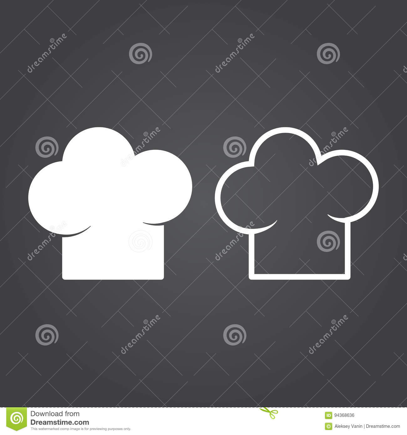 Chef Hat Icon  Solid And Outline Versions  White Icons On A