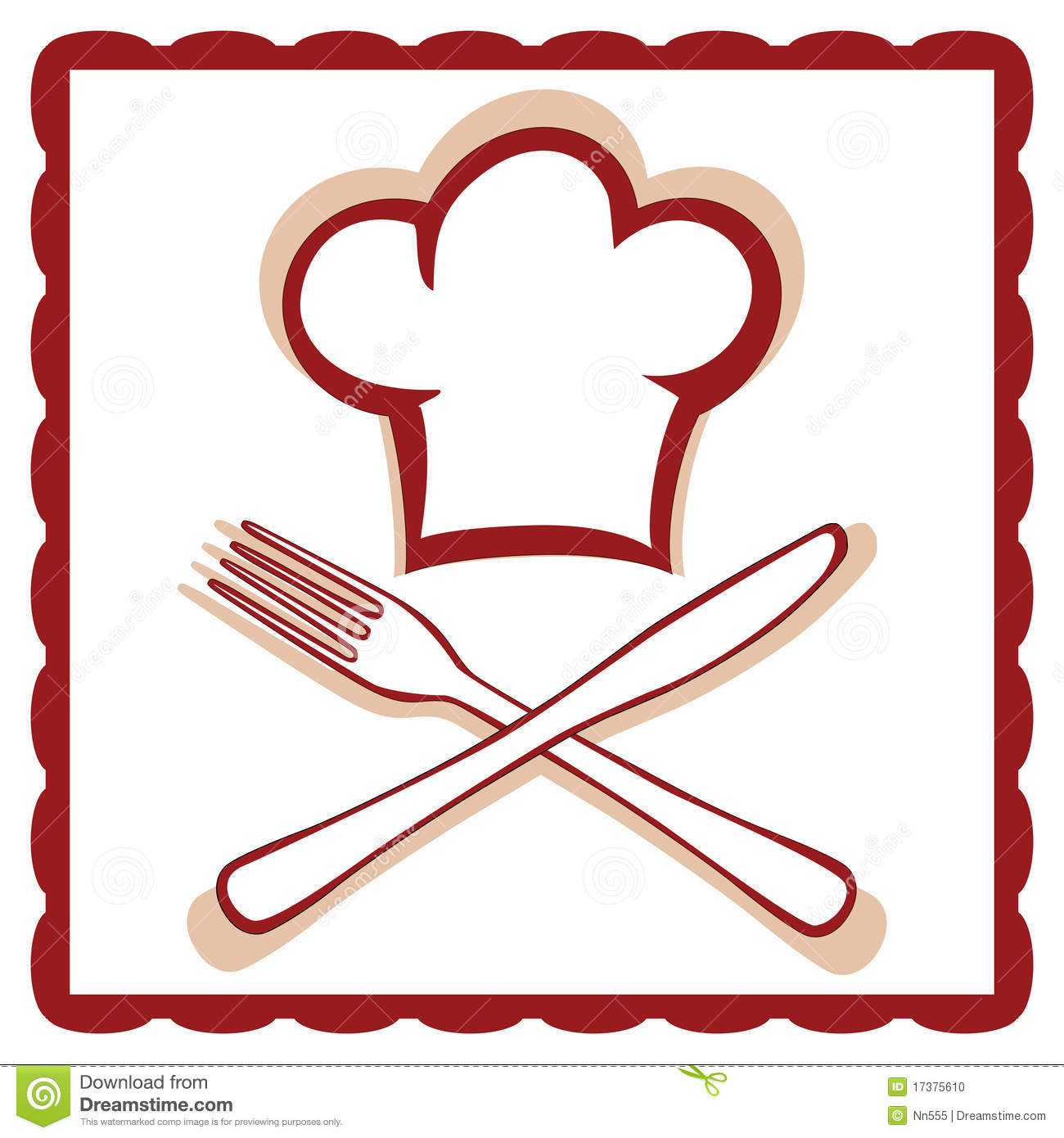 Chef Hat With Knife And Fork Sign Stock Photo - Image: 17375610