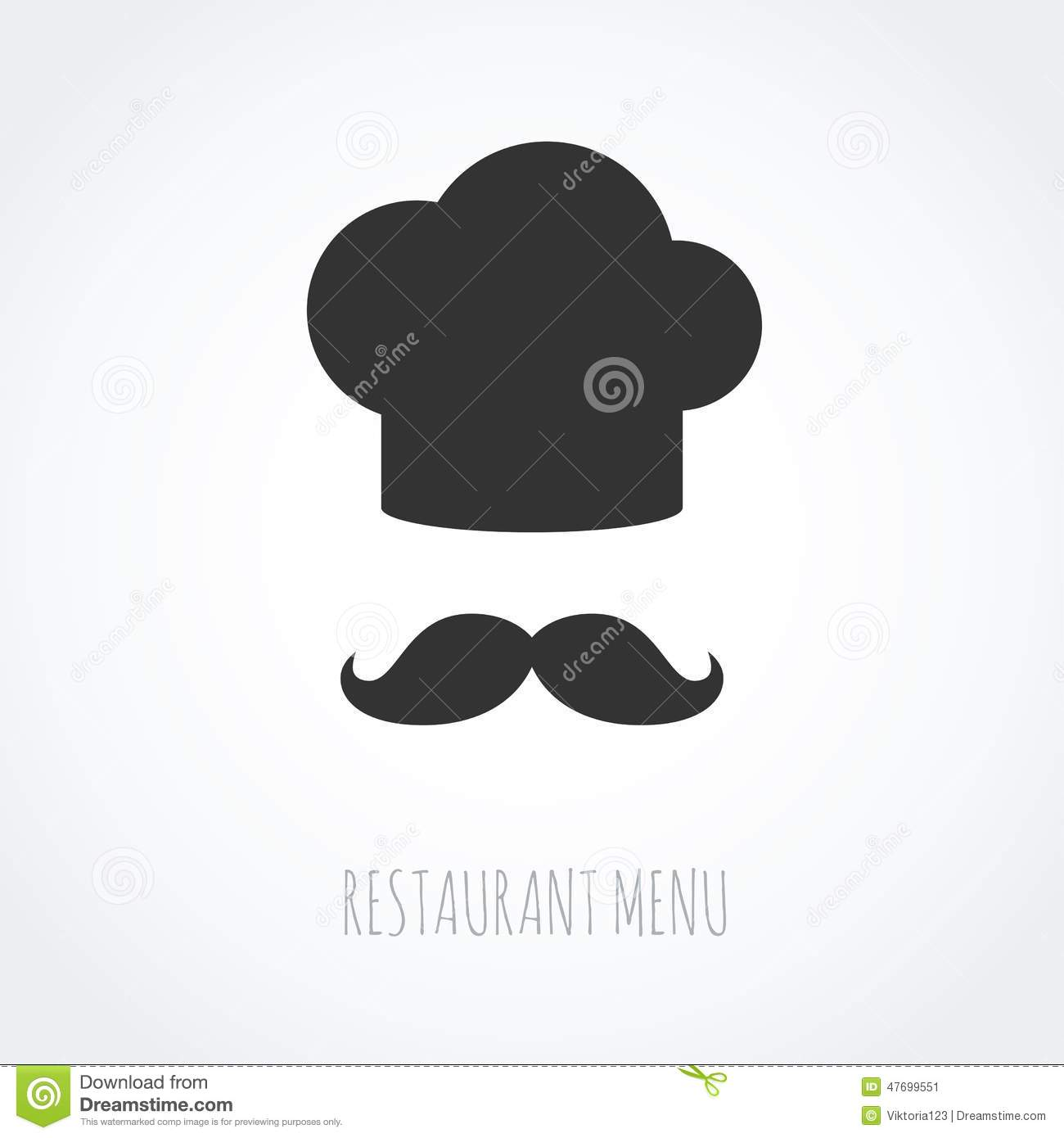 89af7dc9cf4 Chef Hat And Mustache Abstract Vector Icon. Stock Vector ...