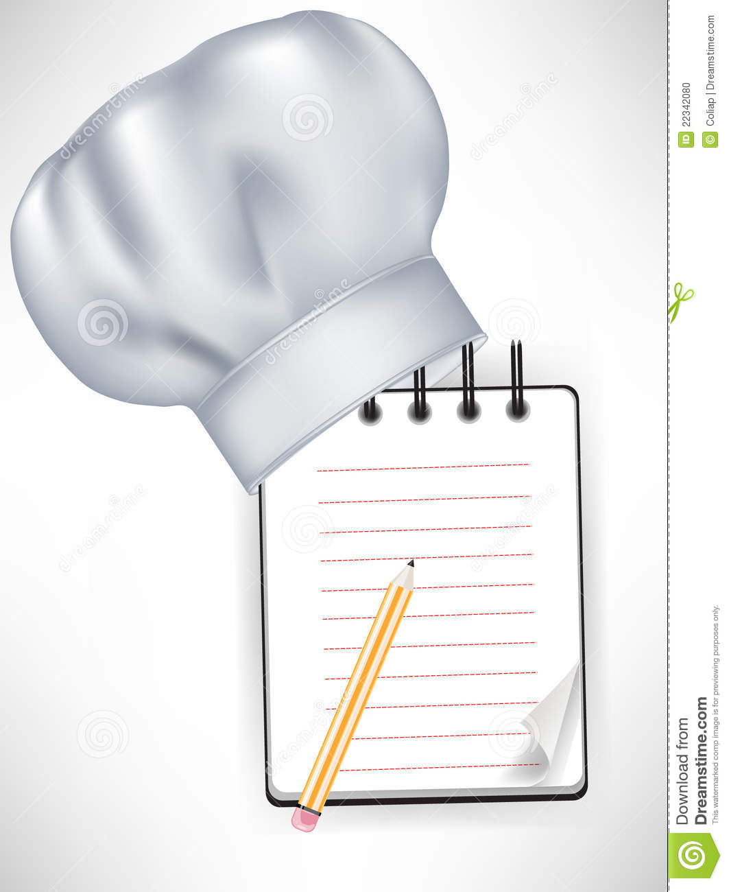 chef hat with recipe notebook stock vector