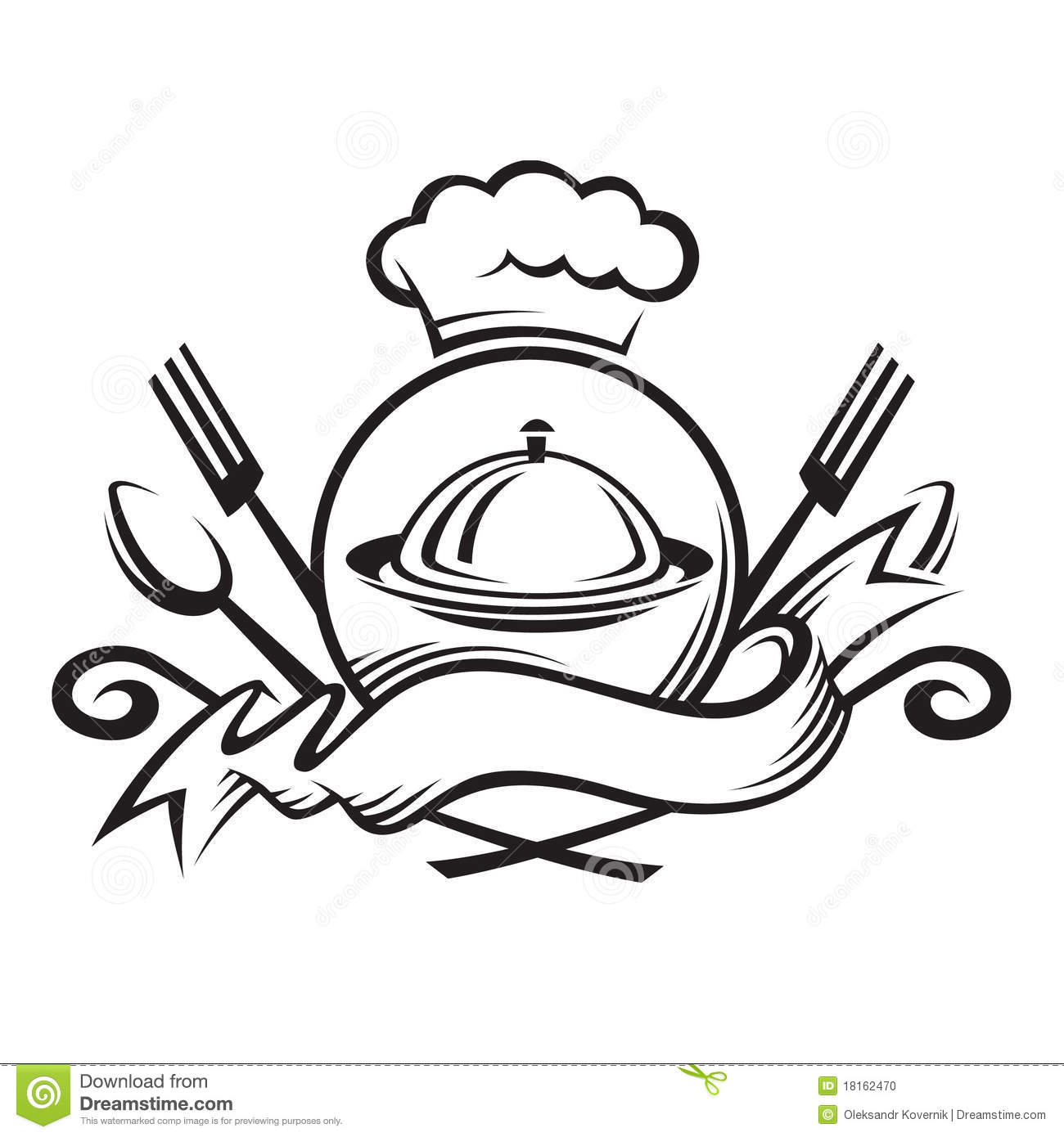 Chef Hat With Spoon,fork And Dish Stock Photo - Image: 18162470