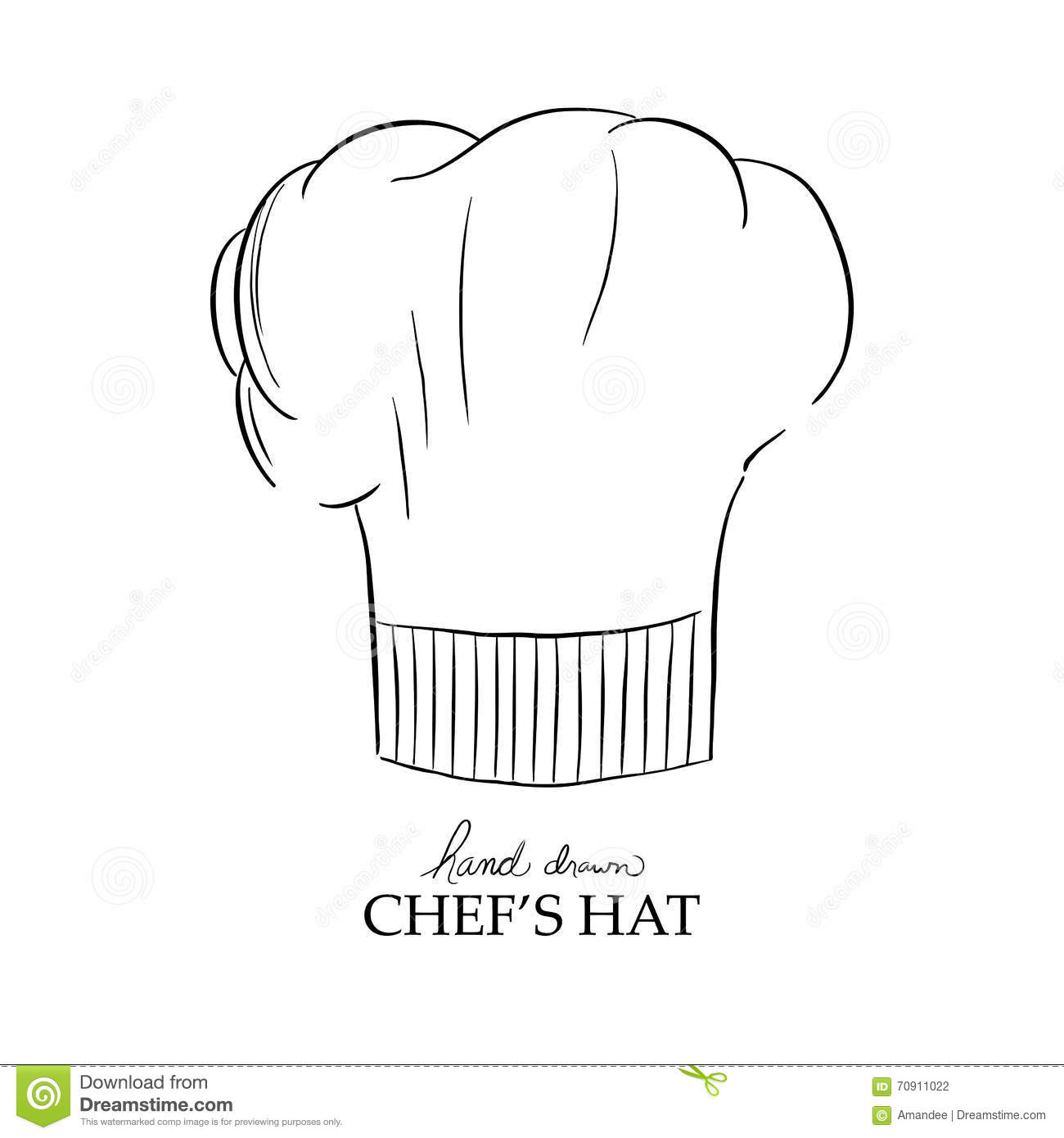 chef hat vector hand drawn illustration stock vector