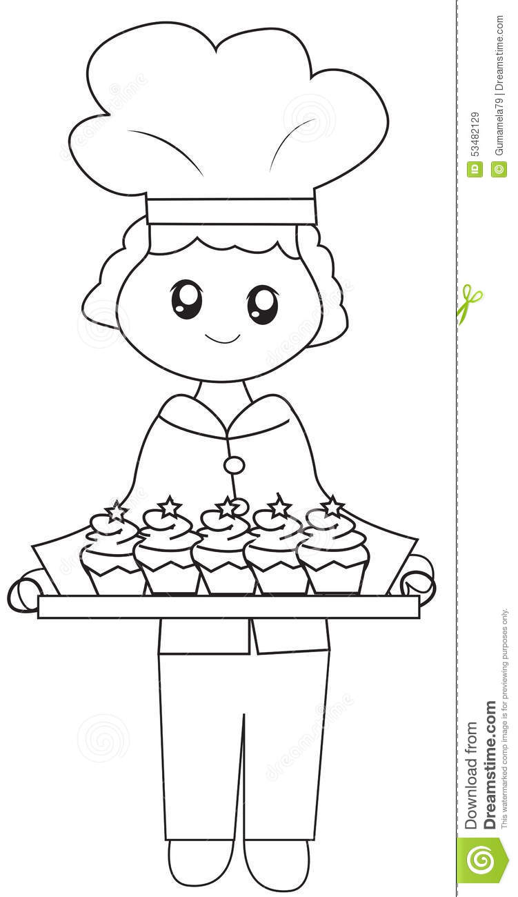 The Chef His Baked Cupcakes Coloring Page