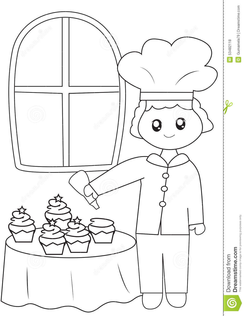 the chef with his cupcakes coloring page stock illustration
