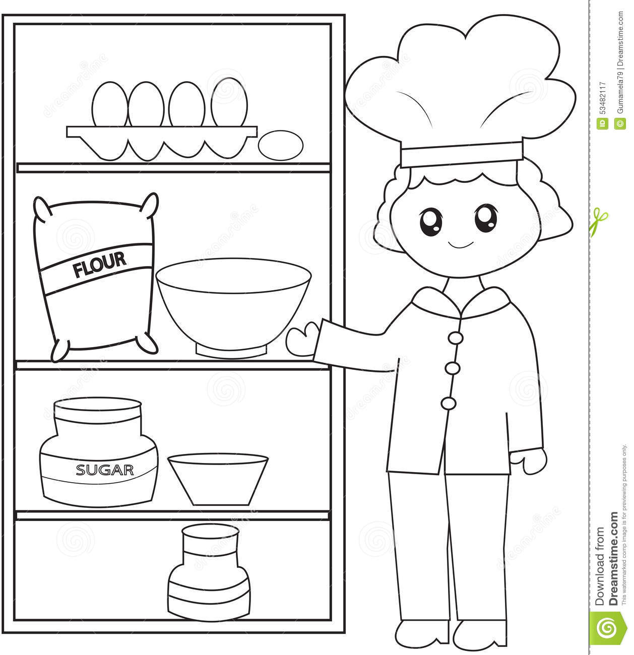 Book Coloring Ingredients Kids Page