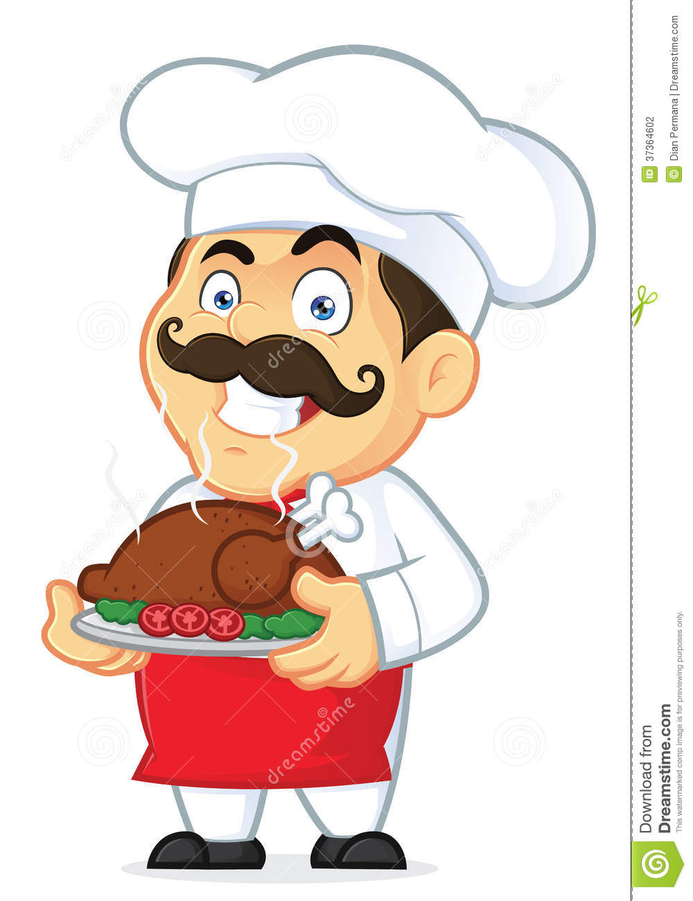 Chef Holding A Baked Chicken Stock Vector
