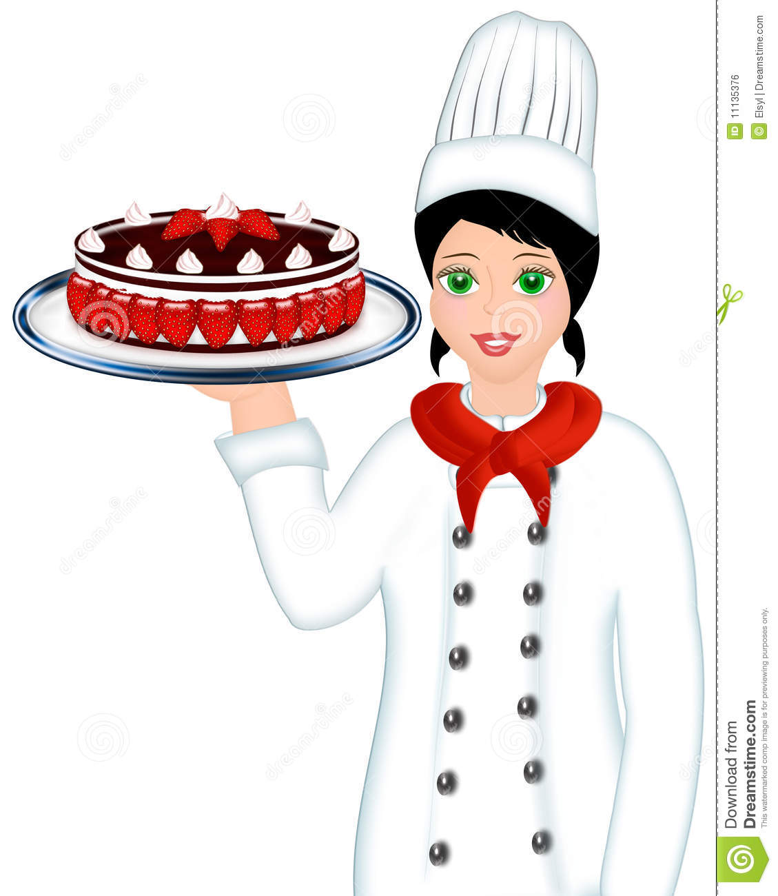 Kitchen Center Clip Art: Chef Holding Cake Royalty Free Stock Image