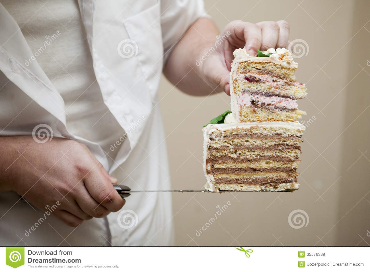 Chef holding cake cuttings stock photo. Image of delicious - 35576338