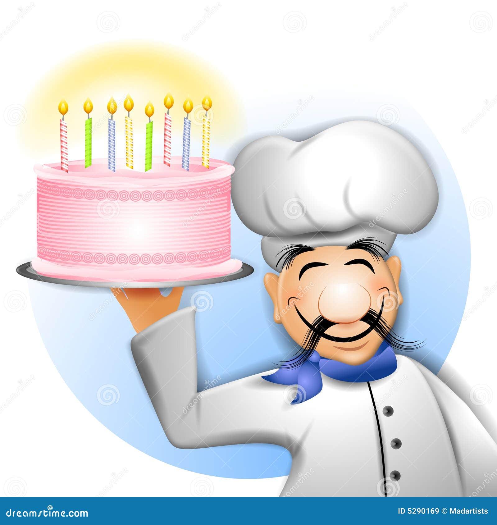 Chef Holding Geburtstag Kuchen Stock Abbildung Illustration Von