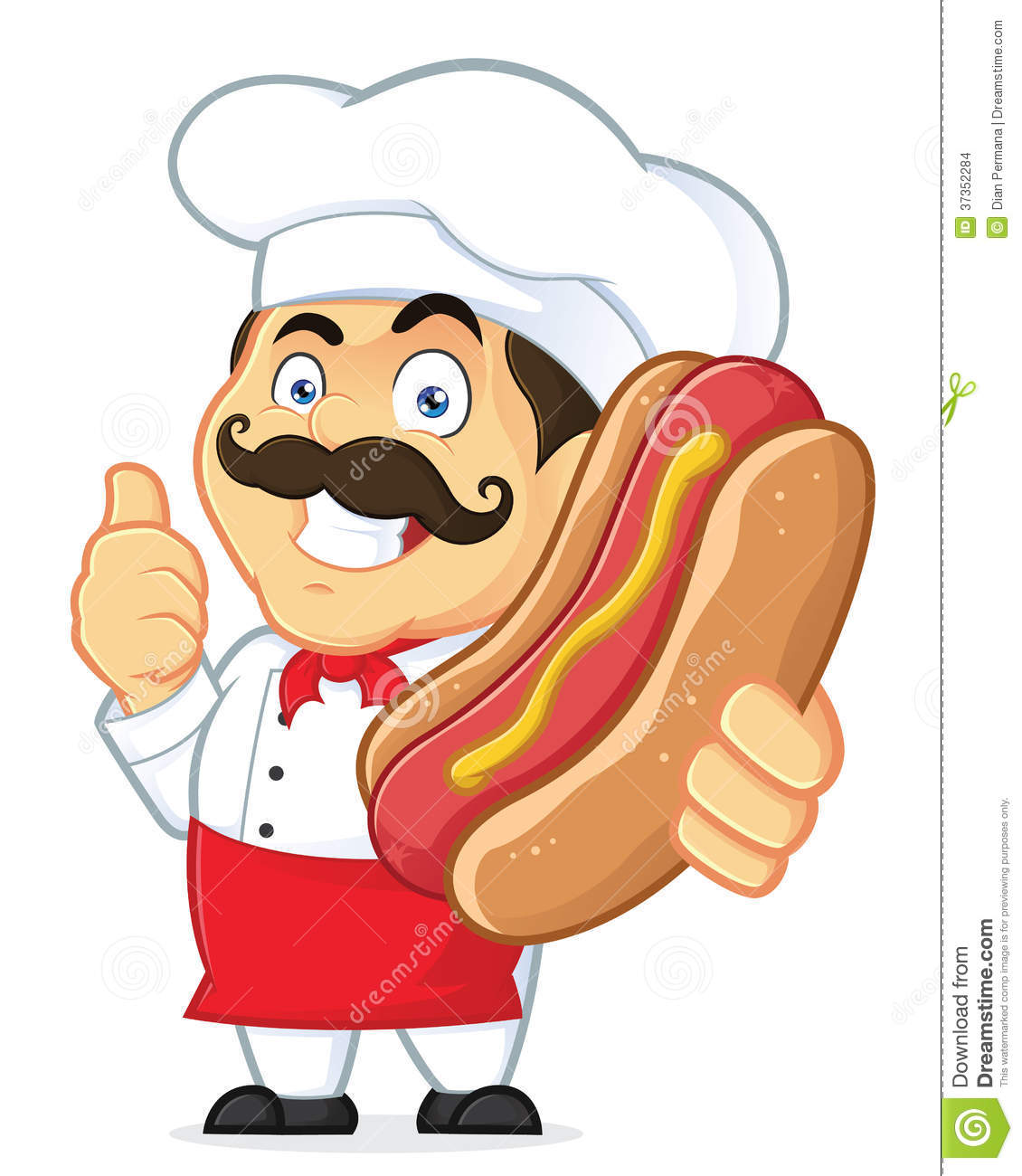 Clipart Picture of a Chef Cartoon Character Holding Hot Dog.