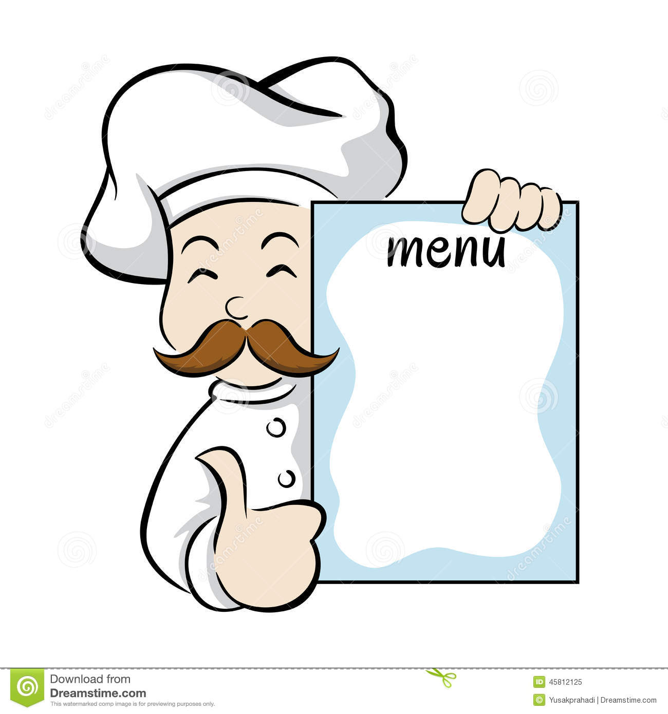 Chef Holding Menu Sign Stock Vector Image 45812125