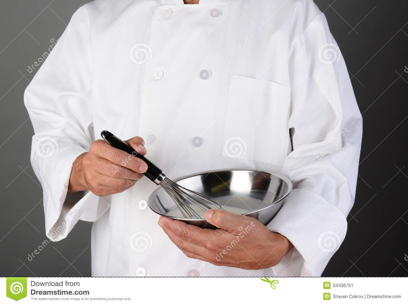 Chef Holding Mixing Bowl And Whisk Stock Image Image