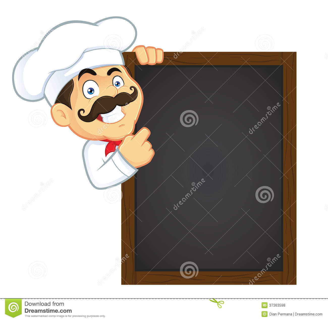 chef holding wooden menu board stock vector - illustration of menu