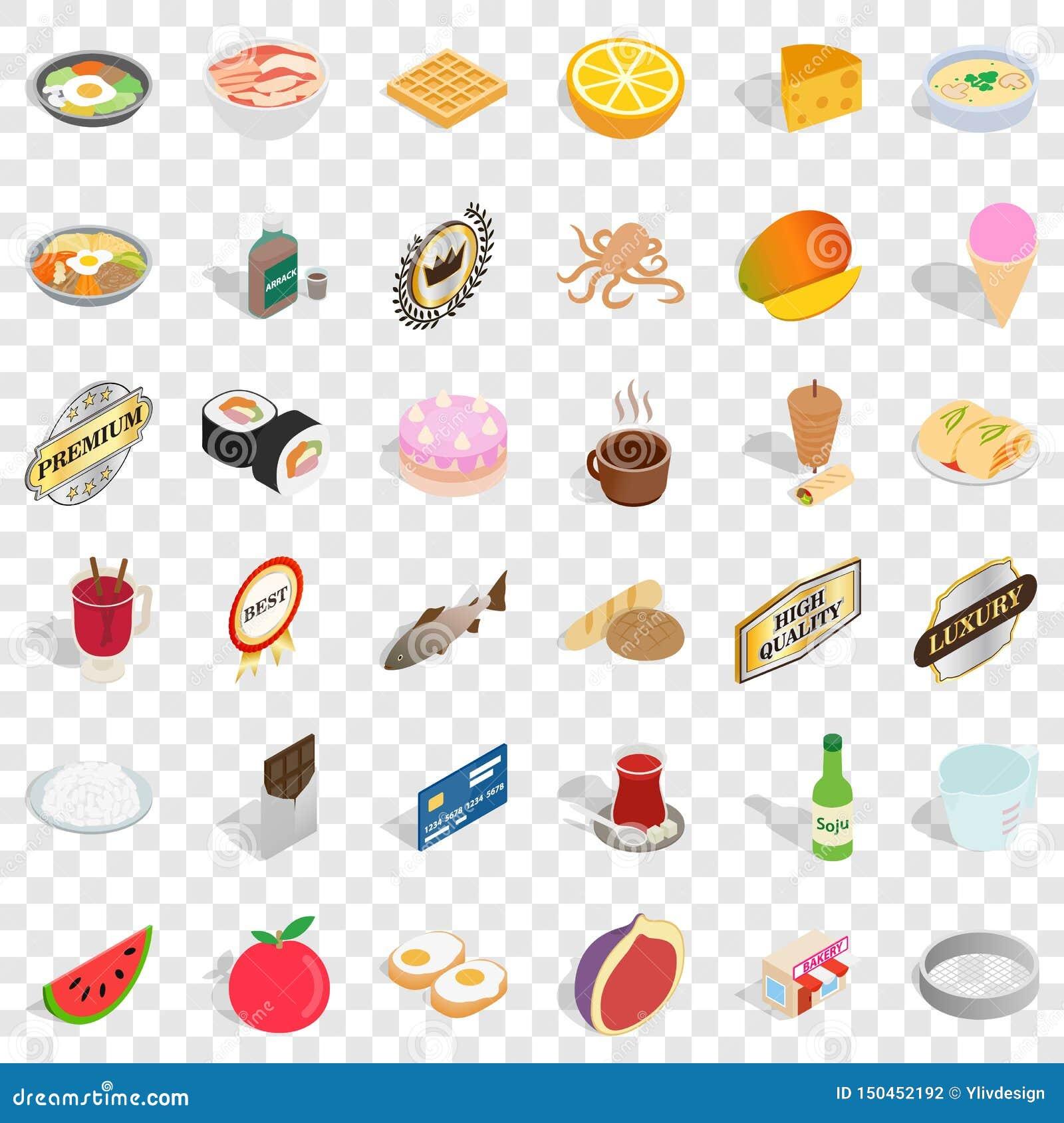 Chef icons set, isometric style