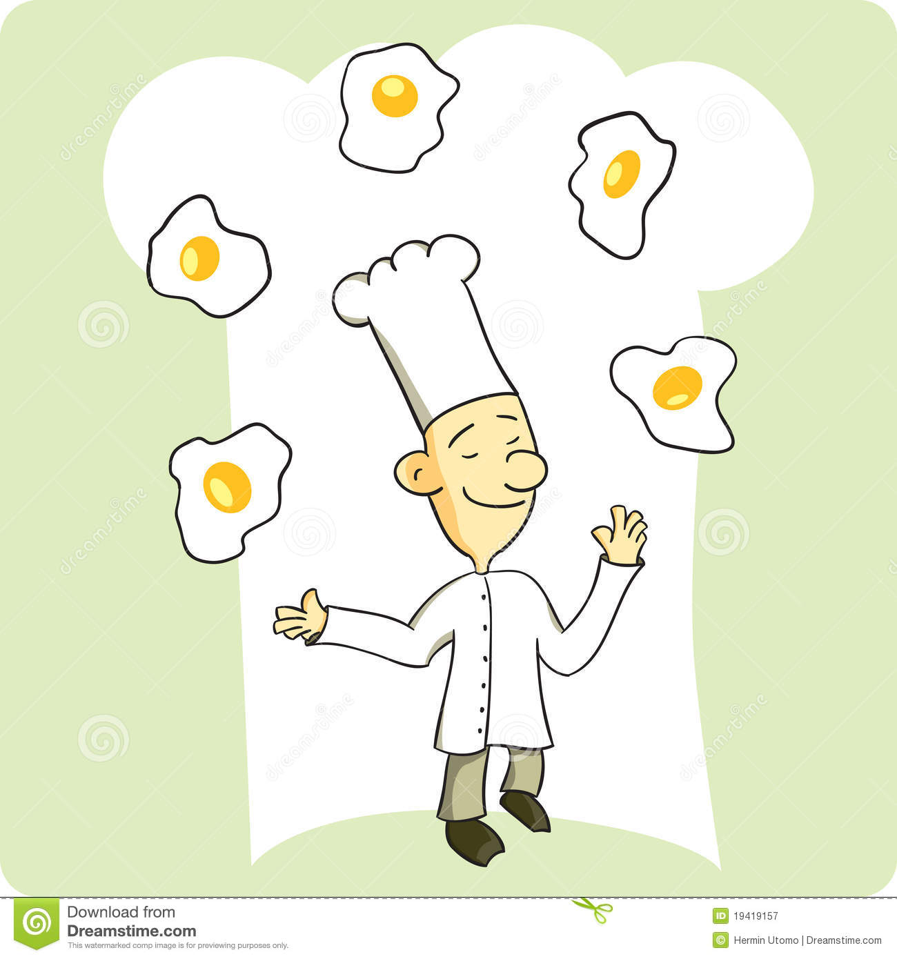 Chef Juggling Eggs stock vector. Image of proud, food ...
