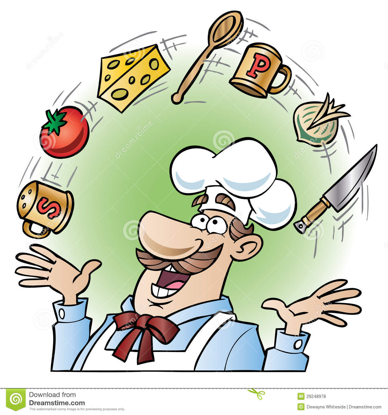 Chef Juggling Kitchen Utensils And Food Items Stock Vector ...