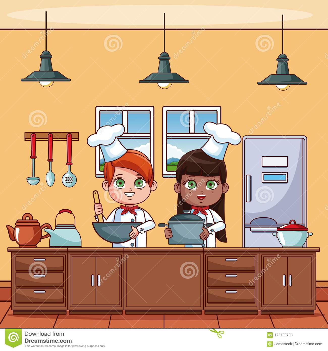 Chef Kids At Kitchen Stock Vector. Illustration Of Healthy