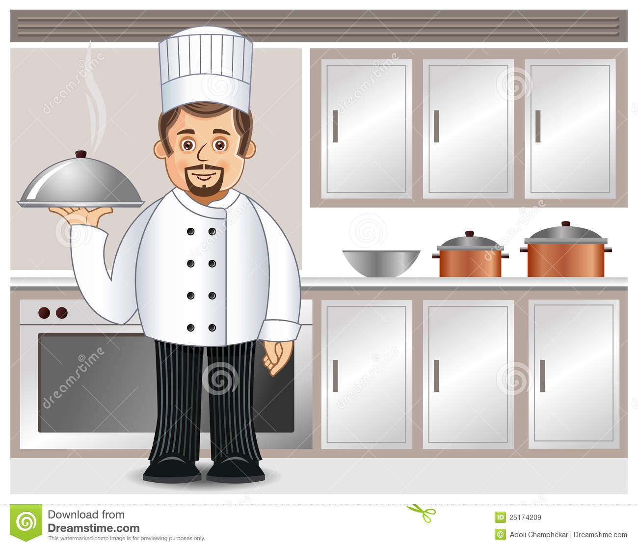 A chef in a kitchen stock vector. Illustration of caterer - 25174209