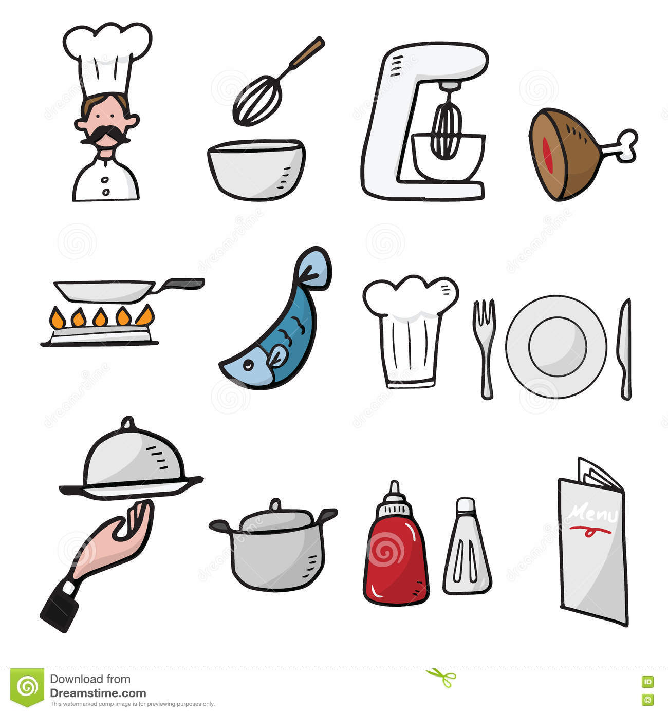 Chef and kitchen cartoon drawing icons stock vector for Kitchen set drawing