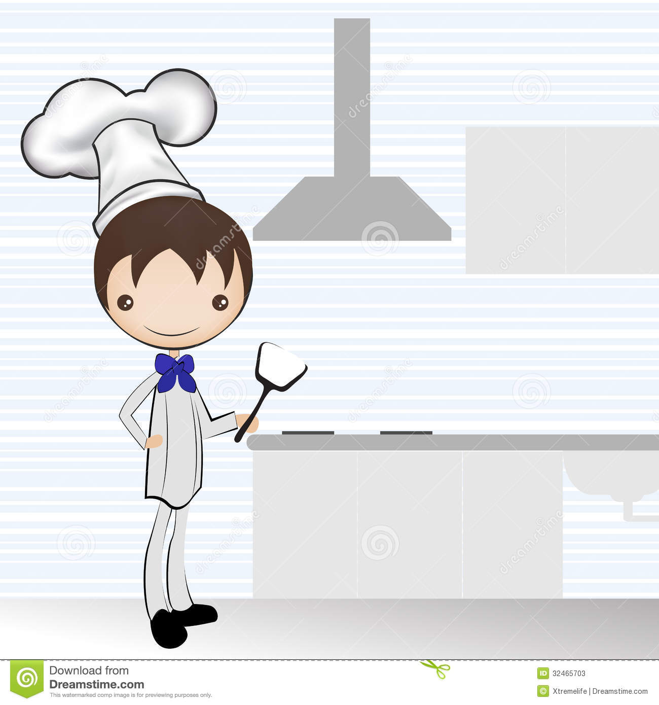 Restaurant Kitchen Illustration chef and the kitchen / illustration stock photos - image: 32465703