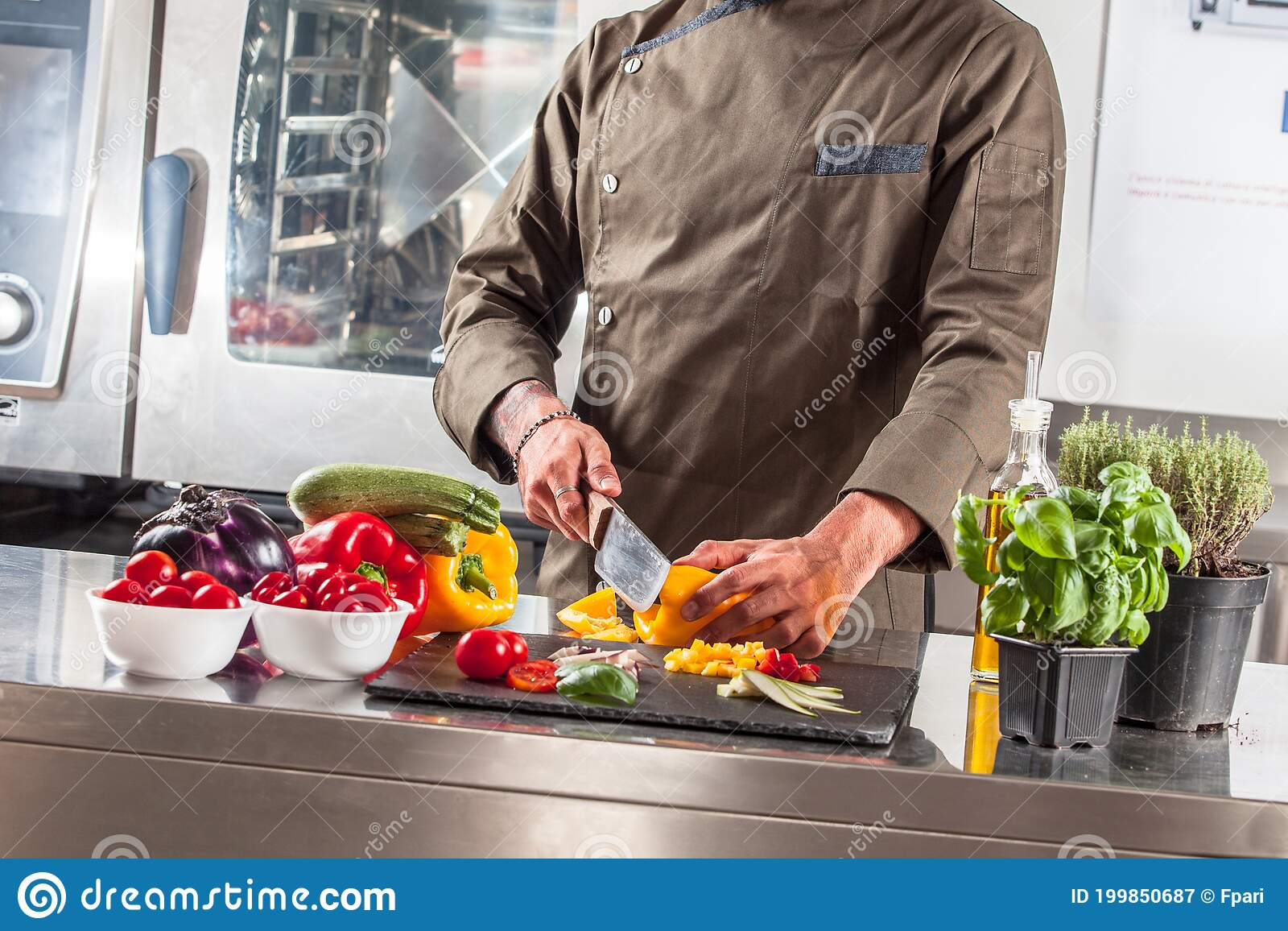 Chef In Kitchen Stock Image Of Decoration Black 199850687