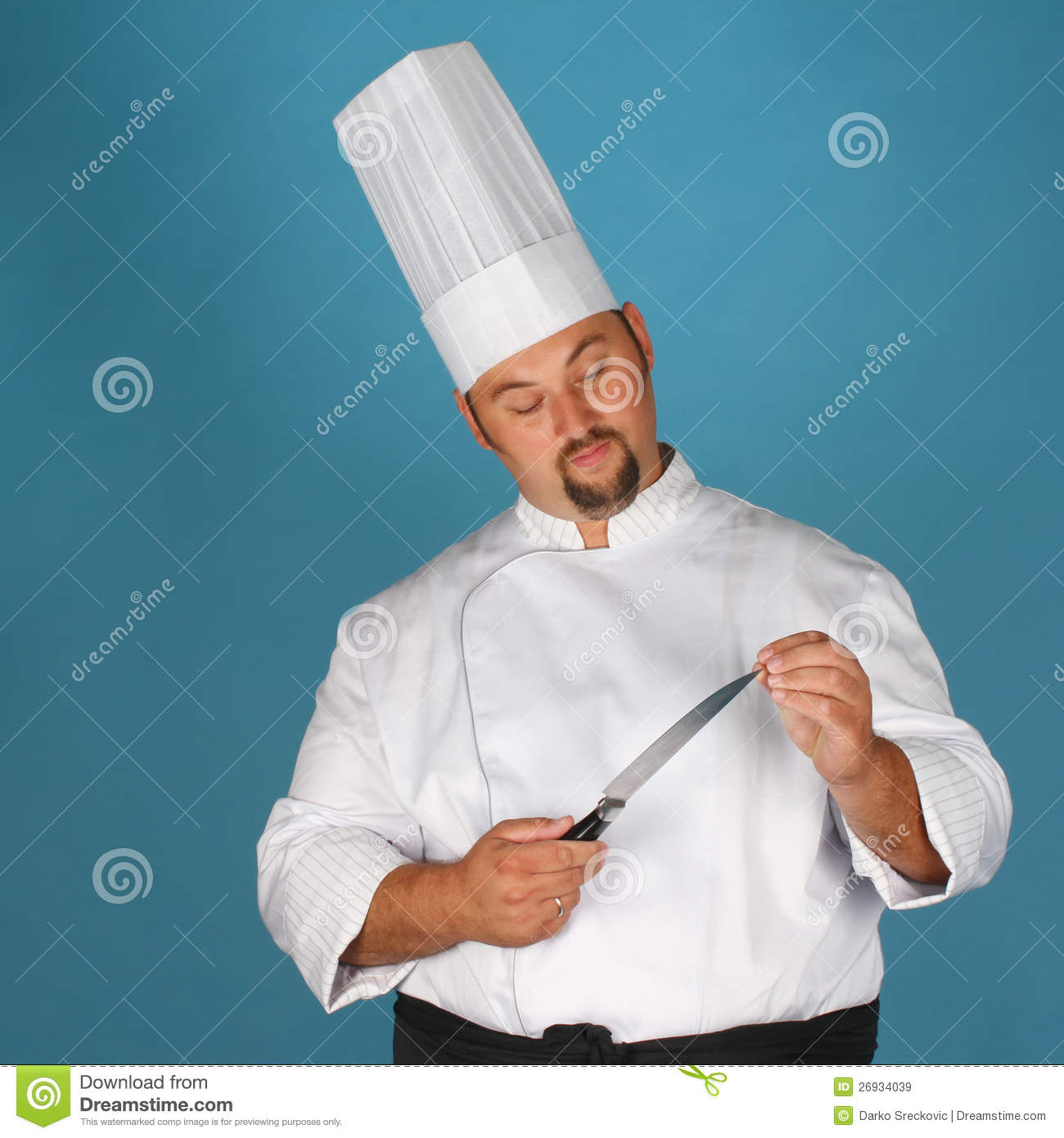 chef with knife stock image image of professional blue 26934039. Black Bedroom Furniture Sets. Home Design Ideas