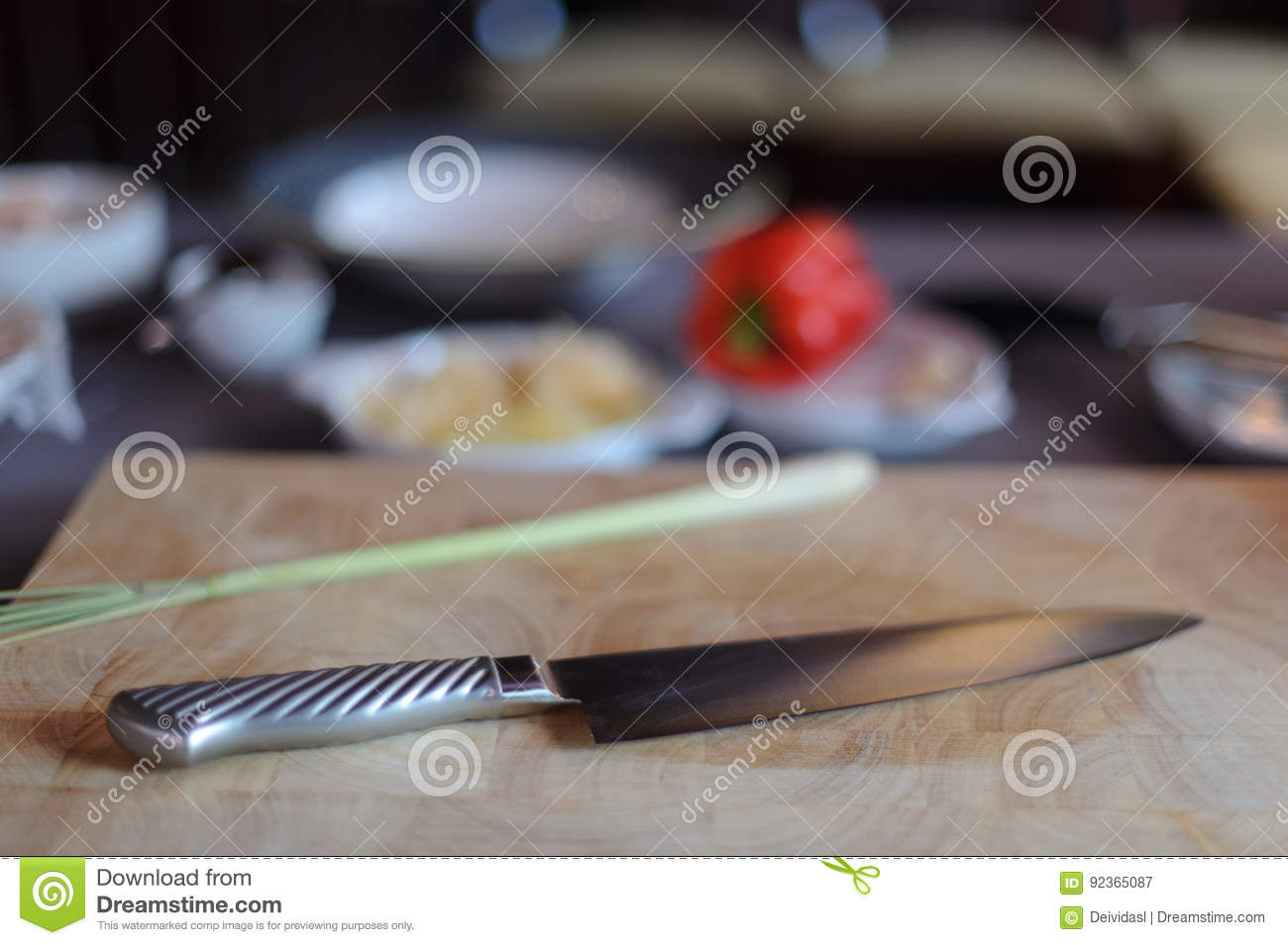 Chef knife with ingredients