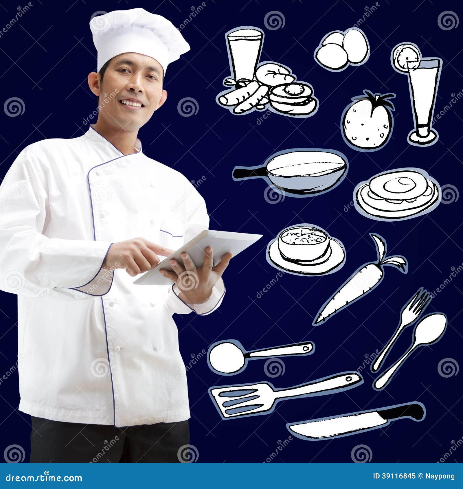 Chef-kok die digitale tablet gebruiken